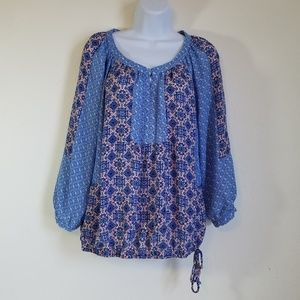 Notations Blue & White Peasant Style Blouse M